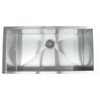 36 Inch Stainless Steel Undermount Single Bowl Kitchen Sink Zero Radius Design
