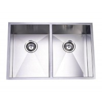 29 Inch Stainless Steel Undermount 50/50 Double Bowl Kitchen Sink Zero Radius Design
