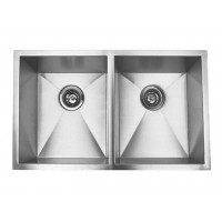 32 Inch Stainless Steel Undermount 50/50 Double Bowl Kitchen Sink Zero Radius Design