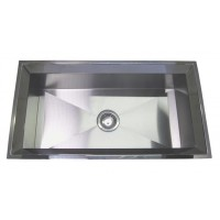 33 Inch Stainless Steel Undermount Single Bowl Kitchen Sink Polished Slope Rim Zero Radius