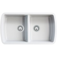 White Quartz Composite 50/50 Double Bowl Undermount Kitchen Sink - 33-1/16 x 18-15/16 x 9-3/8 Inch