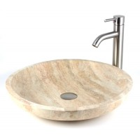 Jupiter - Yellow Travertine Stone Countertop Bathroom Lavatory Vessel Sink - 19-11/16 x 19-11/16 Inch