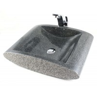 Stream - Sesame Black Granite Stone Countertop Bathroom Lavatory Vessel Sink - 21 x 16 Inch