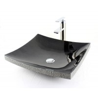 Nightsky - Curved Rectangular Stone Granite Vessel Sink with Chiseled Exterior Absolute Black 18 x 4-3/4 Inch