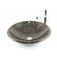 Europa - Uba Tuba Granite Stone Undermount / Drop In / Countertop Bathroom Lavatory Vessel Sink - 17-1/4 x 5-9/16 Inch
