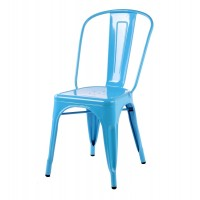 Tolix Style Metal Industrial Loft Designer Cafe Chair in Blue