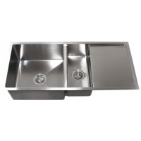42 Inch Stainless Steel 15mm Radius Design Undermount Double Bowl Kitchen Sink With 13 Inch Drain Board