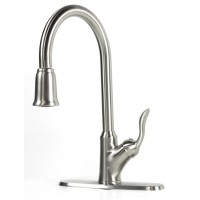 Classic Lilly Collection Lead Free Pull Out Sprayer Kitchen/Bar Faucet Brushed Nickel Finish With Free Deck Plate