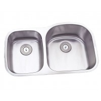32 Inch Stainless Steel Undermount Double 30/70 D-Bowl Offset Kitchen Sink - 16 Gauge