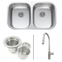 32 Inch Stainless Steel Double Bowl Kitchen Sink and Faucet Combo - 18 Gauge
