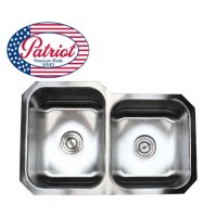 31 Inch Patriot Premium 18 Gauge Stainless Steel Undermount 60/40 Off Set Double Kitchen Sink