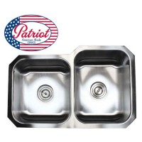 31 Inch Patriot Premium 18 Gauge Stainless Steel Undermount 40/60 Off Set Double Kitchen Sink