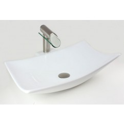 23-1/4 Inch - Wave Rectangular Porcelain Ceramic Single Hole Countertop Bathroom Vessel Sink
