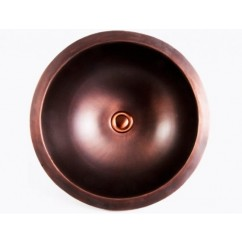 Round Brushed Natural Coffee Finish 16 Gauge Copper Undermount / Drop In Bathroom Sink - 16-1/2 x 6 Inch