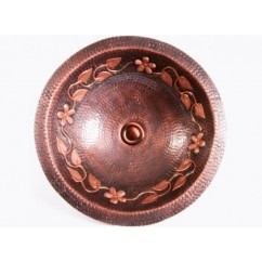 Round Hammered Floral Pattern 16 Gauge Copper Undermount / Drop In Bathroom Sink - 16-1/2 x 6 Inch