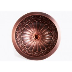 Round Hammered Garden Pattern 16 Gauge Copper Undermount / Drop In Bathroom Sink - 16-1/2 x 6 Inch