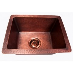 Natural Coffee Hand Hammered Finish Copper Undermount / Drop In Kitchen Sink - 16-1/2 x 12-1/2 x 8 Inch