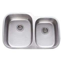 31 Inch Stainless Steel Undermount 60/40 Double Bowl Kitchen Sink - 18 Gauge