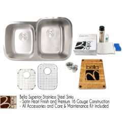 Bella 32 Inch Stainless Steel Double Bowl 40/60 Kitchen Sink - Premium 16 Gauge Bella Series w/ FREE ACCESSORIES