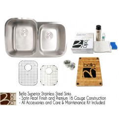 Bella 32 Inch Stainless Steel Double Bowl 60/40 Kitchen Sink - Premium 16 Gauge Bella Series w/ FREE ACCESSORIES