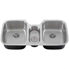 43 Inch Stainless Steel Undermount Triple Bowl Kitchen Sink - 16 Gauge