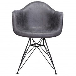 Markle Cool Gray Leatherette Fabric Upholstered DAR Armchair Accent Chair with Black Steel Leg