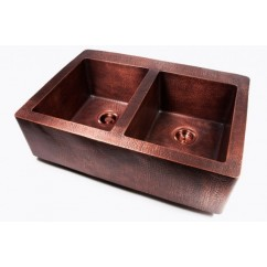 Hand Hammered Finish Copper Double Bowl Flat Front Farmhouse Apron Kitchen Sink - 36 x 25 x 10 Inch