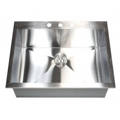 25 Inch Top-Mount / Drop-In Stainless Steel Single Bowl Kitchen Zero Radius Design