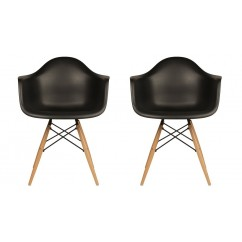 2 X Eames Style DAW Dining Armchair with Wood Eiffel Legs in Black
