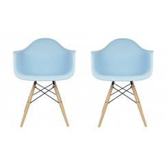 2 X Eames Style DAW Dining Armchair with Wood Eiffel Legs in Sky Blue