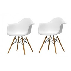 2 X Eames Style DAW Dining Armchair with Wood Eiffel Legs in White