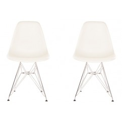2 X Eames Style DSR Dining Shell Chair with Steel Eiffel Legs in White