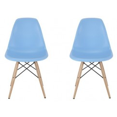 2 X DSW Dining Shell Chair with Wood Eiffel Legs in Sky Blue