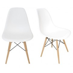 2 X Eames Style DSW Dining Shell Chair with Wood Eiffel Legs in White