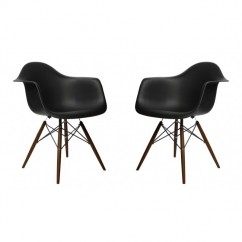 2 X Eames Style DAW Dining Armchair with Dark Walnut Eiffel Legs in Black