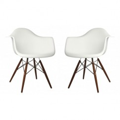 2 X Eames Style DAW Dining Armchair with Dark Walnut Eiffel Legs in White