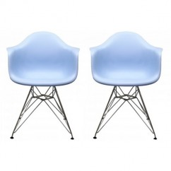 2 X DAR Dining Armchair with Steel Eiffel Legs in Sky Blue