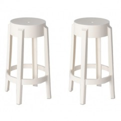 2 X Victoria Ghost Style White Color Counter Stool