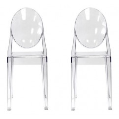 2 X Victoria Style Clear Color Ghost Dining Chair