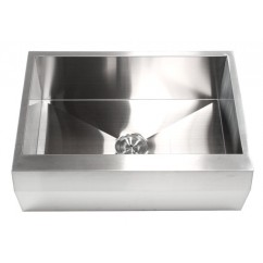 30 Inch Stainless Steel Well Angled Front Farm Apron Kitchen Sink - Single Bowl