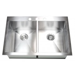 33 Inch Top-Mount / Drop-In Stainless Steel Double Bowl Kitchen Sink Zero Radius Design