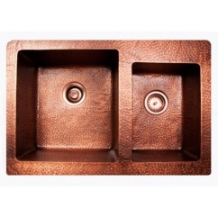 Hand Hammered Finish Copper 60/40 Double Bowl Undermount / Drop In Kitchen Sink - 33 x 22 x 9 | 7 Inch