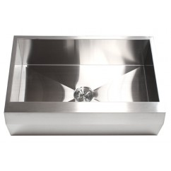 33 Inch Stainless Steel Well Angled Front Farm Apron Kitchen Sink - Single Bowl