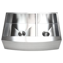 33 Inch Stainless Steel Curved Front Farm Apron 60/40 Double Bowl Kitchen Sink