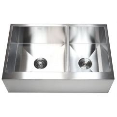 33 Inch Stainless Steel Flat Front Farm Apron 60/40 Double Bowl Kitchen Sink