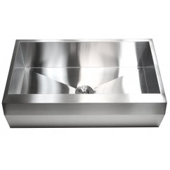 36 Inch Stainless Steel Well Angled Front Farm Apron Kitchen Sink - Single Bowl