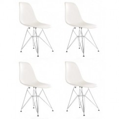 4 X Eames Style DSR Dining Shell Chair with Steel Eiffel Legs in White