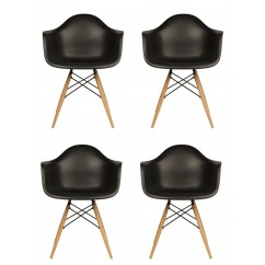 4 X Eames Style DAW Dining Armchair with Wood Eiffel Legs in Black
