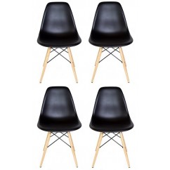 4 X DSW Dining Shell Chair with Wood Eiffel Legs in Black