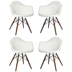 4 X Eames Style DAW Dining Armchair with Dark Walnut Eiffel Legs in White